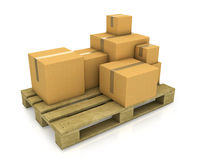 Stack of different sized carton boxes on pallet Royalty Free Stock Photo