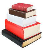 Stack different sizes books isolated Stock Image