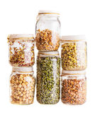 Stack of Different Sprouting Seeds Growing in a Glass Jar. Isolated on White Background Stock Image