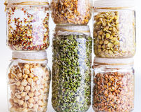 Stack of Different Sprouting Seeds Growing in a Glass Jar Stock Photo
