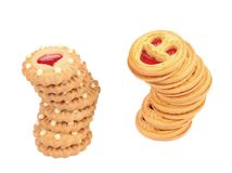 Stack of different strawberry biscuit Royalty Free Stock Image