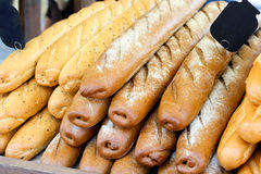 Stack of different types French bread sticks Stock Image