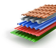 Stack of different types metal roof coating. 3d illustration royalty free stock photos