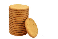 Stack of digestive biscuit. On white background Stock Images
