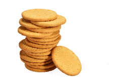 Stack of digestive biscuit. On white background Royalty Free Stock Photography