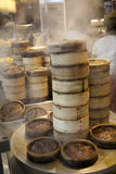 Stack of Dim Sum bamboo Container Royalty Free Stock Image
