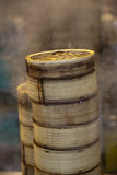 Stack of Dim Sum bamboo Container. Arranged in the kitchen Stock Photos