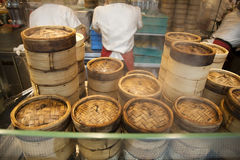 Stack of Dim Sum bamboo Container. Arranged in the kitchen Royalty Free Stock Photography
