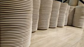 Stack of dish. On table Royalty Free Stock Image