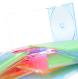 Stack of disks  on white background Royalty Free Stock Images