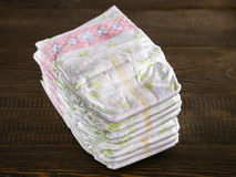 Stack of disposable diapers Stock Images