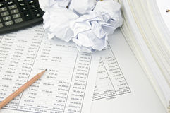 Stack document of account on finance account and paper ball Stock Images