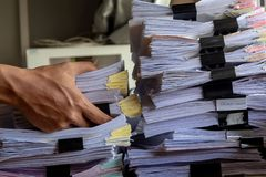 Stack Document file. Pace on Cabinet in office royalty free stock photo