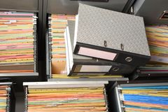 Stack Document file. Pace on Cabinet in office stock image