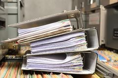 Stack Document file. Pace on Cabinet in office stock images