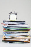 Stack of documents and alarm clock Royalty Free Stock Photography