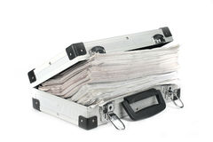 Stack of documents in briefcase. Stack of documents in metal briefcase on white background royalty free stock photography
