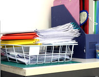 Stack of documents on the desk. Were located in the traininig office Royalty Free Stock Photography