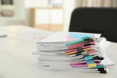 Stack of documents with paper clips royalty free stock photo