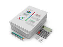 A stack of documents, papers and stationery Stock Photos
