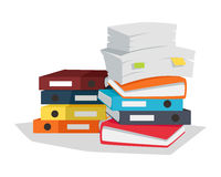 Stack of Documents Vector Flat Design on White. Royalty Free Stock Image