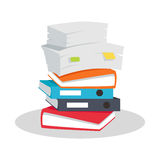 Stack of Documents Vector Flat Design on White. Stock Photo