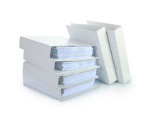 Stack of documents in white binders Royalty Free Stock Image