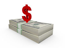 Stack of Dollar Bills and Dollar Sign Royalty Free Stock Photo