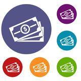Stack of dollar bills icons set. In flat circle reb, blue and green color for web Stock Image