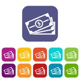 Stack of dollar bills icons set. Vector illustration in flat style in colors red, blue, green, and other Royalty Free Stock Photo