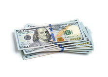 Stack of 100 dollar bills. Scattered stack of 100 dollar bills Royalty Free Stock Photography