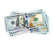 Stack of 100 dollar bills. Scattered stack of 100 dollar bills Royalty Free Stock Images