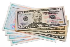 Stack of dollar bills united states and shares Royalty Free Stock Photos