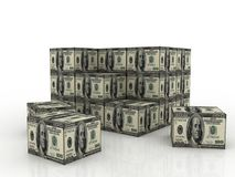 Stack of dollar boxes Royalty Free Stock Photo