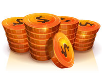 Stack Of Dollar Coins For Game Ui Royalty Free Stock Photos