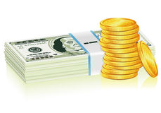 Stack of Dollar and Gold Coins Royalty Free Stock Photo