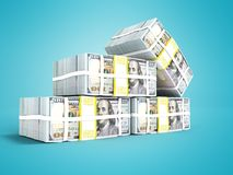 Stack of dollar on the left four packs 3d render on blue background with shadow. Stack of dollar on the left four packs 3d render on blue background Vector Illustration
