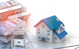 Stack of dollar notes with beautiful house. 3d illustration Royalty Free Stock Photo