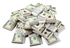 Stack of dollars stock photo
