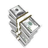 Stack of dollars. Stack of 100 dollars bills render Royalty Free Stock Photo