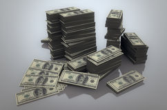 Stack of dollars. Stack of 100 US dollar bills stock illustration