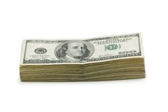 Stack of dollars. Isolated on the white Royalty Free Stock Photography