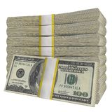 Stack of 100 Dollars banknote bill USA money banknote white background. Isolated. Stack of 100 Dollars banknote bill USA money banknote on a white background stock photos