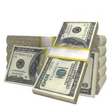 Stack of 100 Dollars banknote bill USA money banknote on a white background. vector illustration