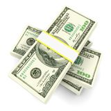 Stack of 100 dollars bills. Stack of dollars isolated on white vector illustration
