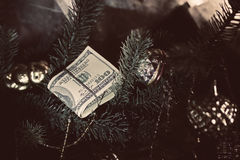Stack of dollars Christmas gift Royalty Free Stock Photos
