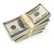 Stack of dollars. Conceptual illustration. Isolated on white background. 3d render Royalty Free Stock Photography