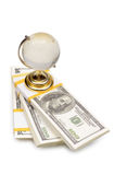The stack of dollars with crystal globe Royalty Free Stock Photography