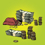 Stack of dollars and Golden coins. Business and Finance. Pop art retro vector illustration Stock Images