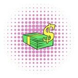 Stack of dollars icon, comics style Stock Photo